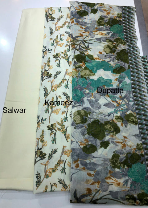 Qurban - Light Green - Winter Printed suits Suit with printed shawl - Unstitched - Memsaab Online