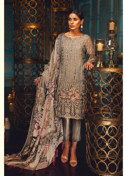 D4 Taupe Rose - Light Grey - Unstitched - Chantelle Embroidered Chiffon by Baroque - Memsaab Online