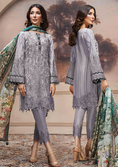8 Shahwar - Unstitched - Lilac - SHAHNAMEH Embroidered Chiffon Eid Collection by Jazmin - Unstitched Pakistani elite Designer suit - Memsaab Online