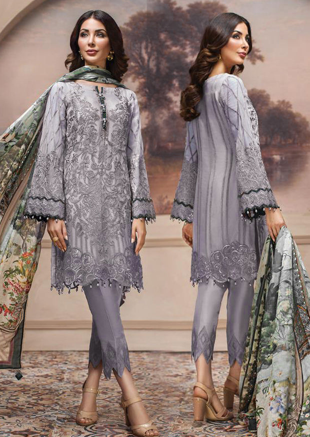 08 Shahwar - Unstitched - Lilac - SHAHNAMEH Embroidered Chiffon Eid Collection by Jazmin - Unstitched Pakistani elite Designer suit - Memsaab Online