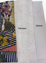 Sheesha - Lilac - Winter Plain suit with printed shawl - Unstitched - Memsaab Online