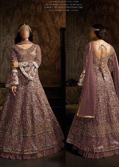 765 Lilac Unstitched Inspired Embroidered Long Dress - Memsaab Online