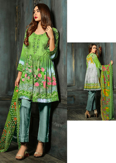 EST106 - Lime Green - Estelle by Memsaab - Linen Peplum suit with Handwork - Pakistani designer - Memsaab Online