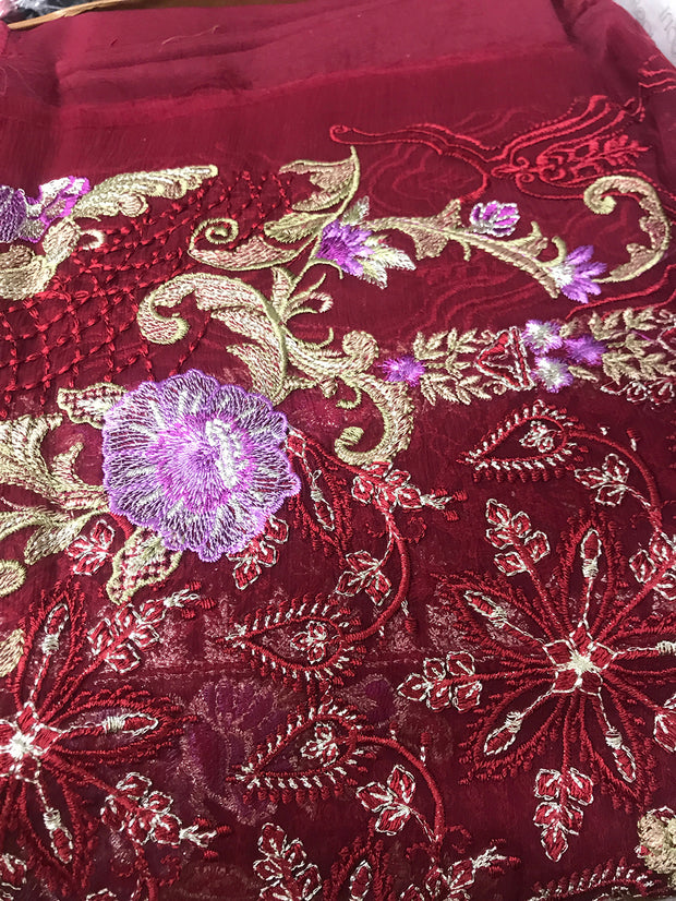 05 Venus - Maroon - Unstitched - Chantelle Embroidered Chiffon by Baroque - Memsaab Online