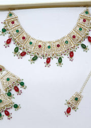 Mahrukh -Maroon/Green- Aari Gold Plated Necklace Set with Fresh Water Pearls - Memsaab Online