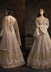 765 Mauve Unstitched Inspired Embroidered Long Dress - Memsaab Online