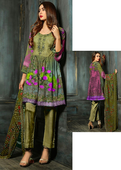 Mendhi Green/Purple - Estelle by Memsaab - Linen Peplum suit with Handwork - Pakistani designer - Memsaab Online