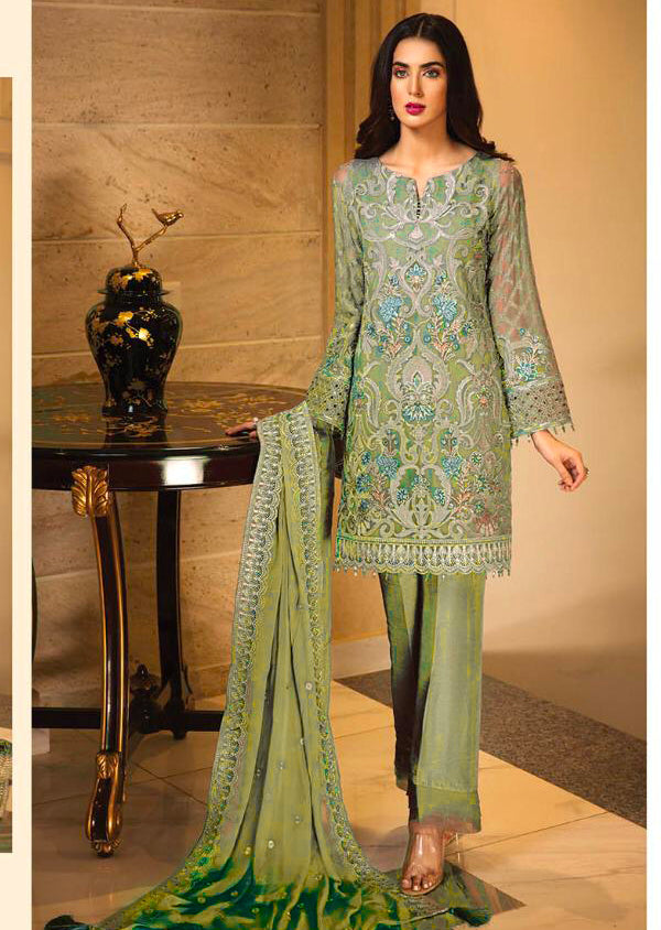 07 Alicia - Mendhi Green - Unstitched - Jazmin Embroidered Chiffon by Baroque - Memsaab Online