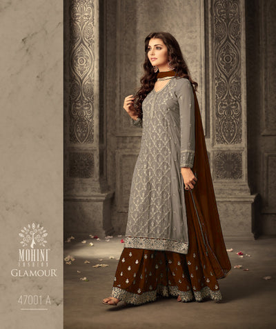 14 MG47001 Grey Brown Memsaab Mohini 47 Pakistani Shararah Suit - Memsaab Online