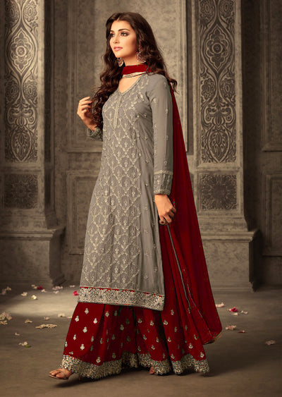14 MG47001 Grey Red Memsaab Mohini 47 Pakistani Shararah Suit - Memsaab Online