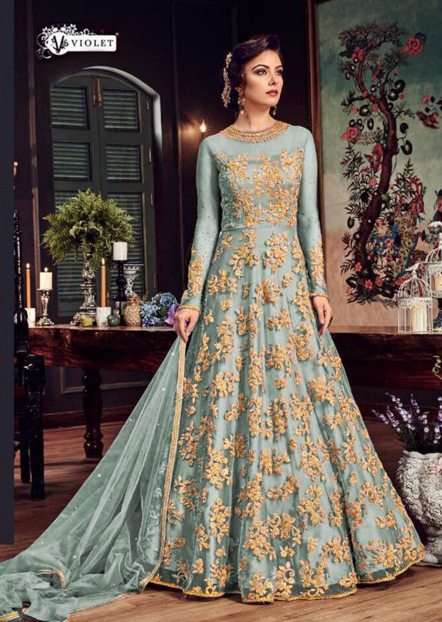 Celise - I - Mint - Maxi Dress Style on Net with Embroidery - Memsaab Online