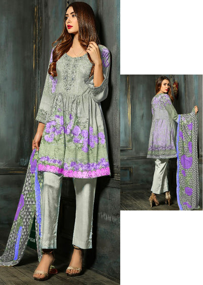 EST106 - Mint - Estelle by Memsaab - Linen Peplum suit with Handwork - Pakistani designer - Memsaab Online