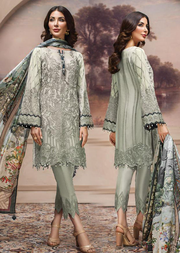08 Shahwar - Unstitched - Mint - SHAHNAMEH Embroidered Chiffon Eid Collection by Jazmin - Unstitched Pakistani elite Designer suit - Memsaab Online