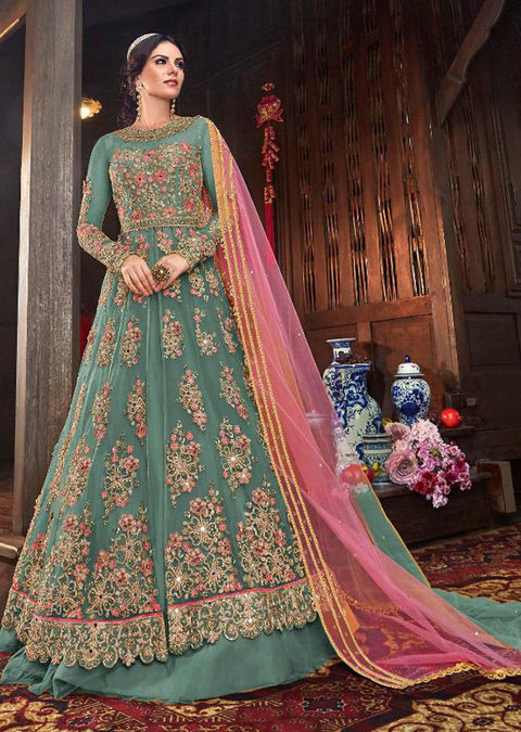 6103 Mint - Unstitched - Indian Ethnic indo Western style Dress - Memsaab Online