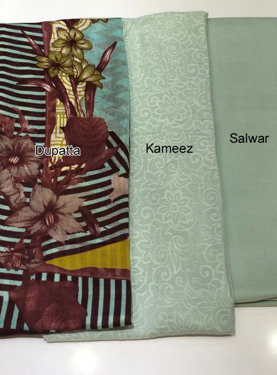 Sheesha - Mint - Winter Plain suit with printed shawl - Unstitched - Memsaab Online