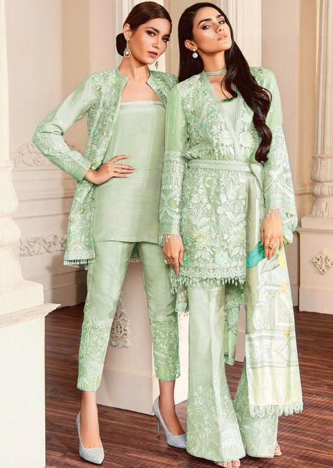 07 FIONA- Mint - CHANTELLE - Baroque Embroidered Chiffon Fancy Pakistani Designer Suit - Memsaab Online