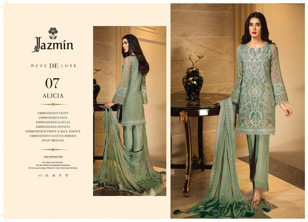 07 Alicia - Mint - Unstitched - Jazmin Embroidered Chiffon by Baroque - Memsaab Online