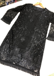 Black Chiffon Embroidered Kurti / Shirt Readymade - Memsaab Online