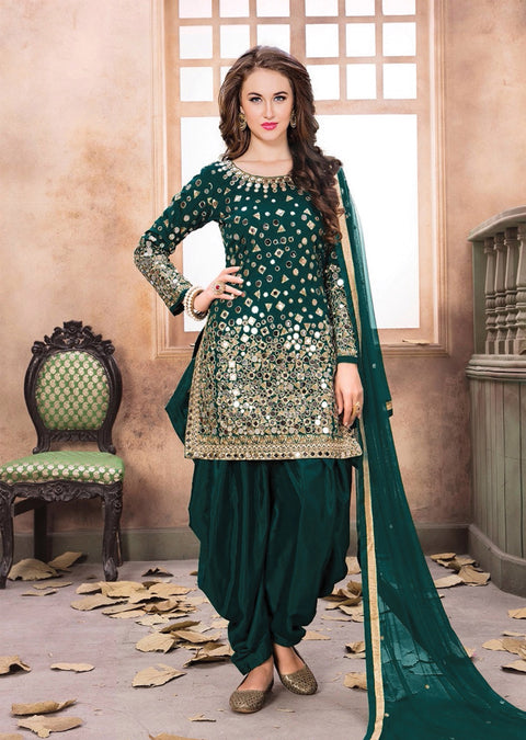 MP40004 Teal Green Mirror Indian Patiyala Salwar Suit - Memsaab Online
