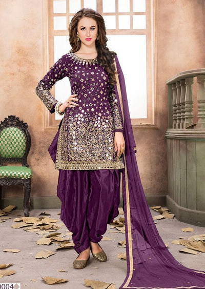 Purple Mirror Indian Patiyala Salwar Suit - Memsaab Online