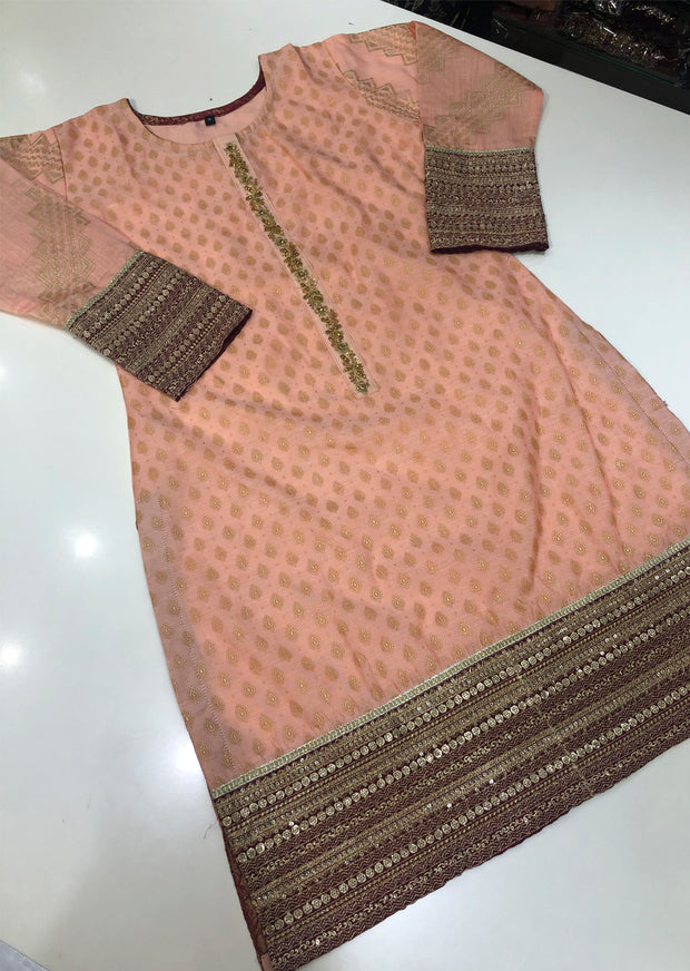 MR901 Peach Cotton Jacquard Kurti - Memsaab Online