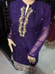 MR903 Purple Chiffon Kurti - Memsaab Online