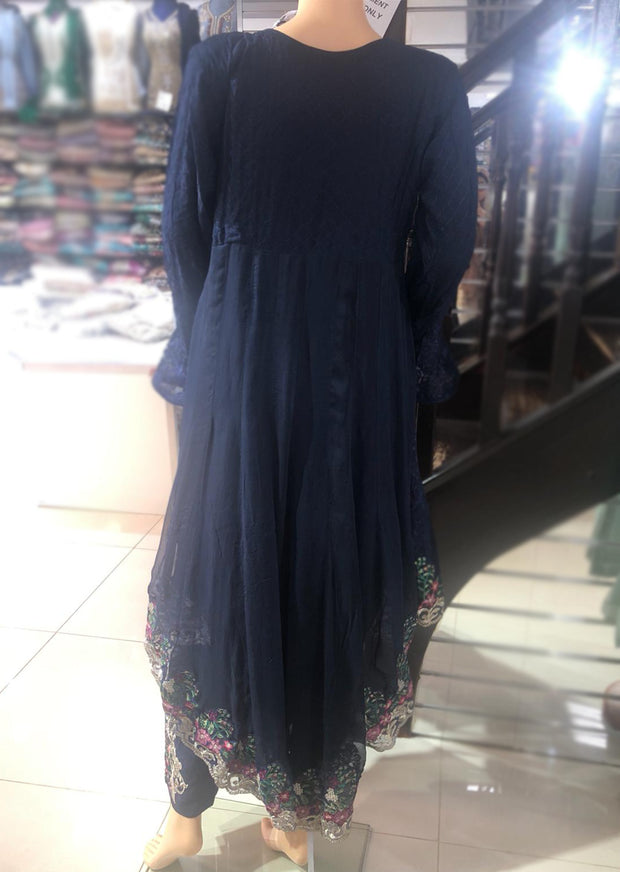 Zoon - Readymade - Navy - Chiffon Tail Dress - Pakistani Designer Branded - Memsaab Online