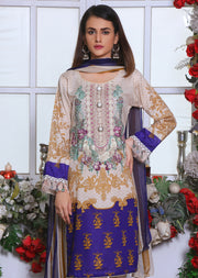 NU002B - Readymade- Cream / Blue - Memsaab Premium Embroidered Lawn Summer 2019 - Pakistani Designer Suit - Memsaab Online