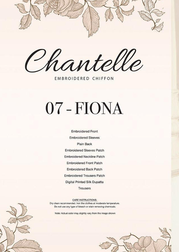 07 FIONA- Nude - CHANTELLE - Baroque Embroidered Chiffon Fancy Pakistani Designer Suit - Memsaab Online