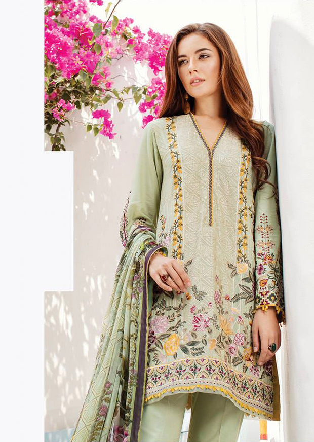 01 Olive - Baroque Swiss Voile Collection 2019 - Pakistani Lawn Salwar Kameez Embroidered Summer - Memsaab Online