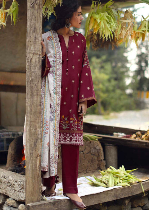 Parisa - readymade - Zara Shahjahan Inspired Pakistani Winter Shawl Collection salwar kameez - Memsaab Online