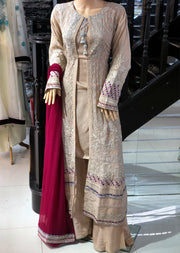 Dusty Pink Ready to Wear Chiffon Embroidered Jacket Suit by Zoon - Memsaab Online
