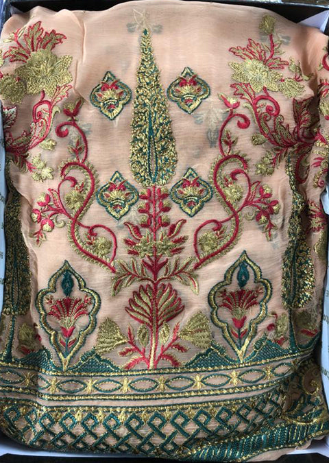 Blue Fantasy - Peach Unstitched Baroque Embroidered Chiffon Suit - Memsaab Online