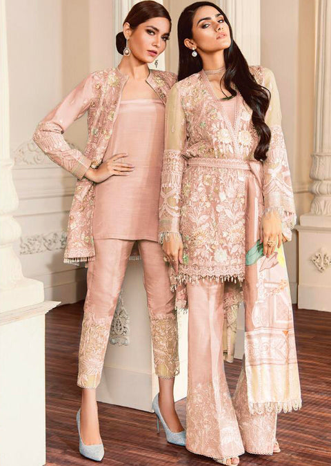 07 FIONA- Peach - CHANTELLE - Baroque Embroidered Chiffon Fancy Pakistani Designer Suit - Memsaab Online