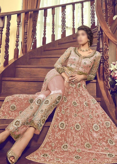6003 Peach Unstitched Net Dress - Memsaab Online