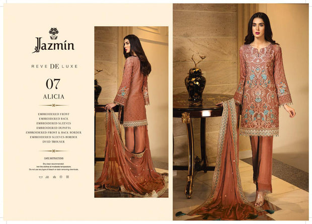07 Alicia - Peach - Unstitched - Jazmin Embroidered Chiffon by Baroque - Memsaab Online