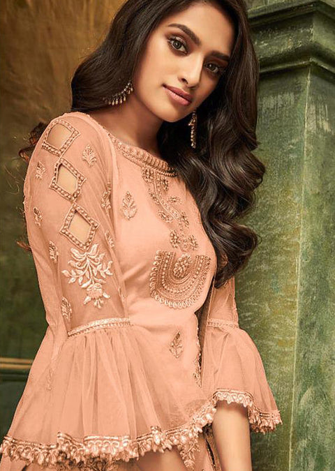 Peach - Unstitched ZIONA Inspired Embroidery Suit - Memsaab Online