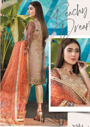 Peachy Dream - Ready to Wear Embroidered Linen Suit - Crisanthe by Sofia Khas - Memsaab Online