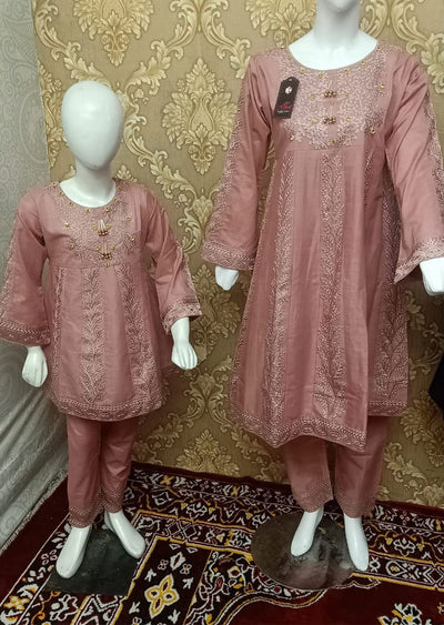 BLG5102 Pink Readymade Mother & Daughter Lawn Suit - Memsaab Online