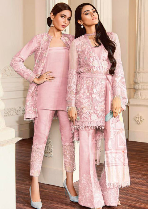 07 FIONA- Pink - CHANTELLE - Baroque Embroidered Chiffon Fancy Pakistani Designer Suit - Memsaab Online