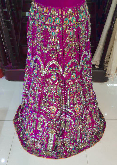 DX9450 Pink Heavy Silk Mirror Skirt - Memsaab Online