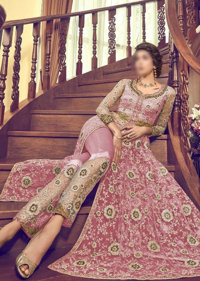 6003 Pink Unstitched Net Dress - Memsaab Online