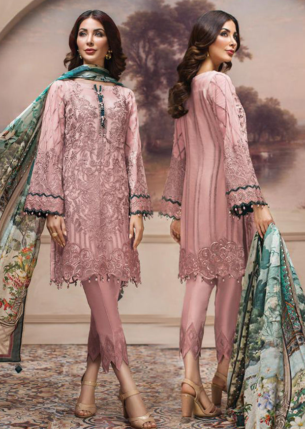 08 Shahwar - Unstitched - Pink - SHAHNAMEH Embroidered Chiffon Eid Collection by Jazmin - Unstitched Pakistani elite Designer suit - Memsaab Online