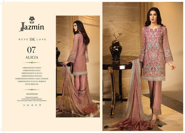 07 Alicia - Pink - Unstitched - Jazmin Embroidered Chiffon by Baroque - Memsaab Online