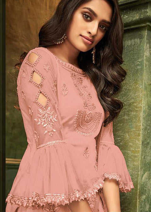 32008 - Pink - Unstitched ZIONA Inspired Embroidery Suit - Memsaab Online