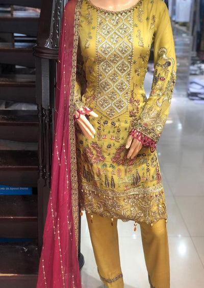 PS1600 Passion - Readymade Yellow Chiffon Suit - Memsaab Online
