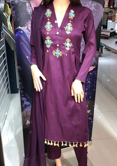 SD01 Purple Readymade Lawn Suit with Handwork - Memsaab Online