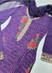 D2 Readymade Purple Linen Embroidered Suit - Memsaab Online