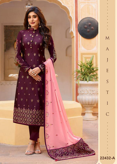 22432 - Purple Unstitched Embrodered Salwar kameez - Memsaab Online