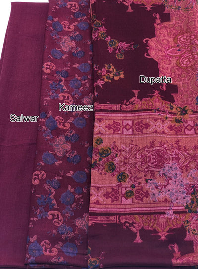 Aaina - Maroon - Winter Printed suits Suit with printed shawl - Unstitched - Memsaab Online